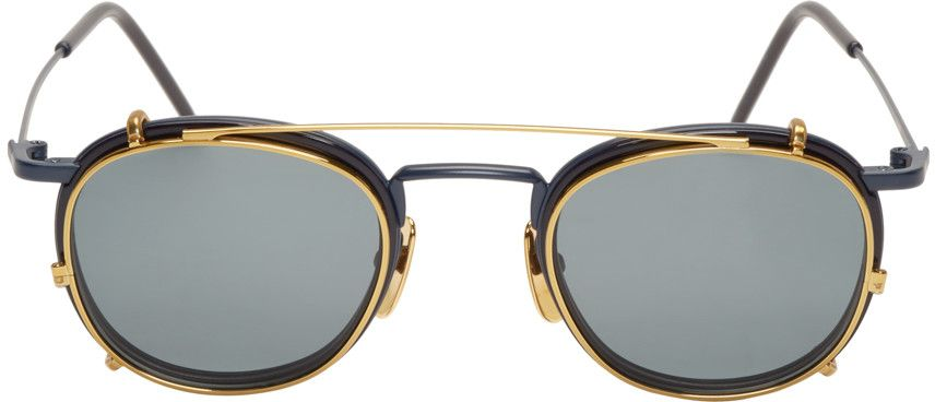 593351034a25 Thom Browne Matte Navy   Gold Clip-On Glasses