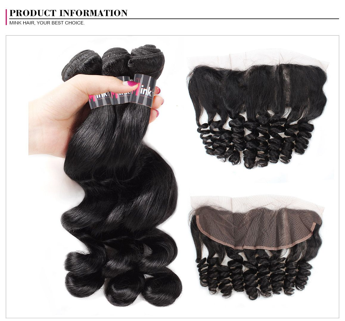 Mink Brazilian Loose Wave Hair 3 Bundles With 134 Frontal Spring
