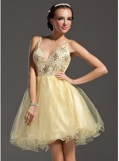 A-Line/Princess V-neck Short/Mini Satin Tulle Homecoming Dress With Beading (022011006)