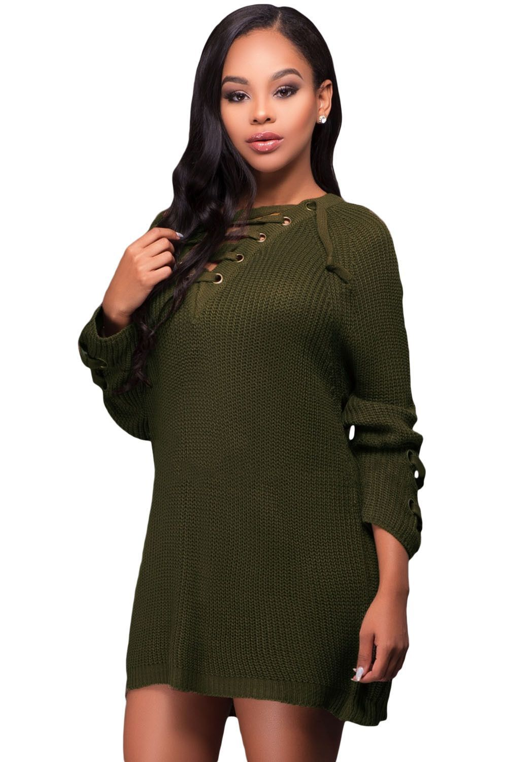 Army green crisscross knitted long sweater maverlly products