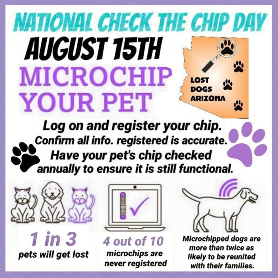 Check the Chip Day Aug. 15th You can have your dog