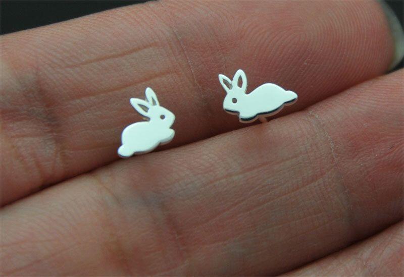 925 sterling silver bunny stud rabbit stud earrings ear studs