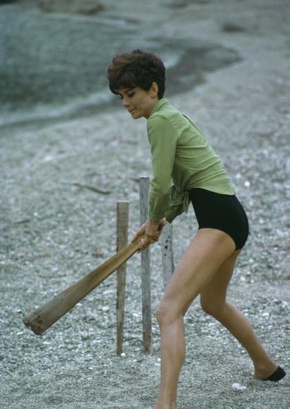 1966: Audrey Hepburn playing cricket in San Tropez. Read more: http://stylecaster.com/audrey-hepburn-style/#ixzz3Wh18qF94