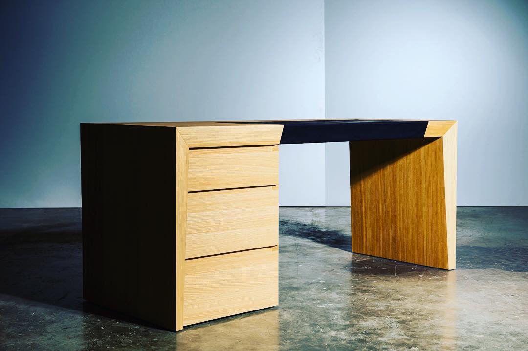Bureau bois cuir design atelier monts et merveilles