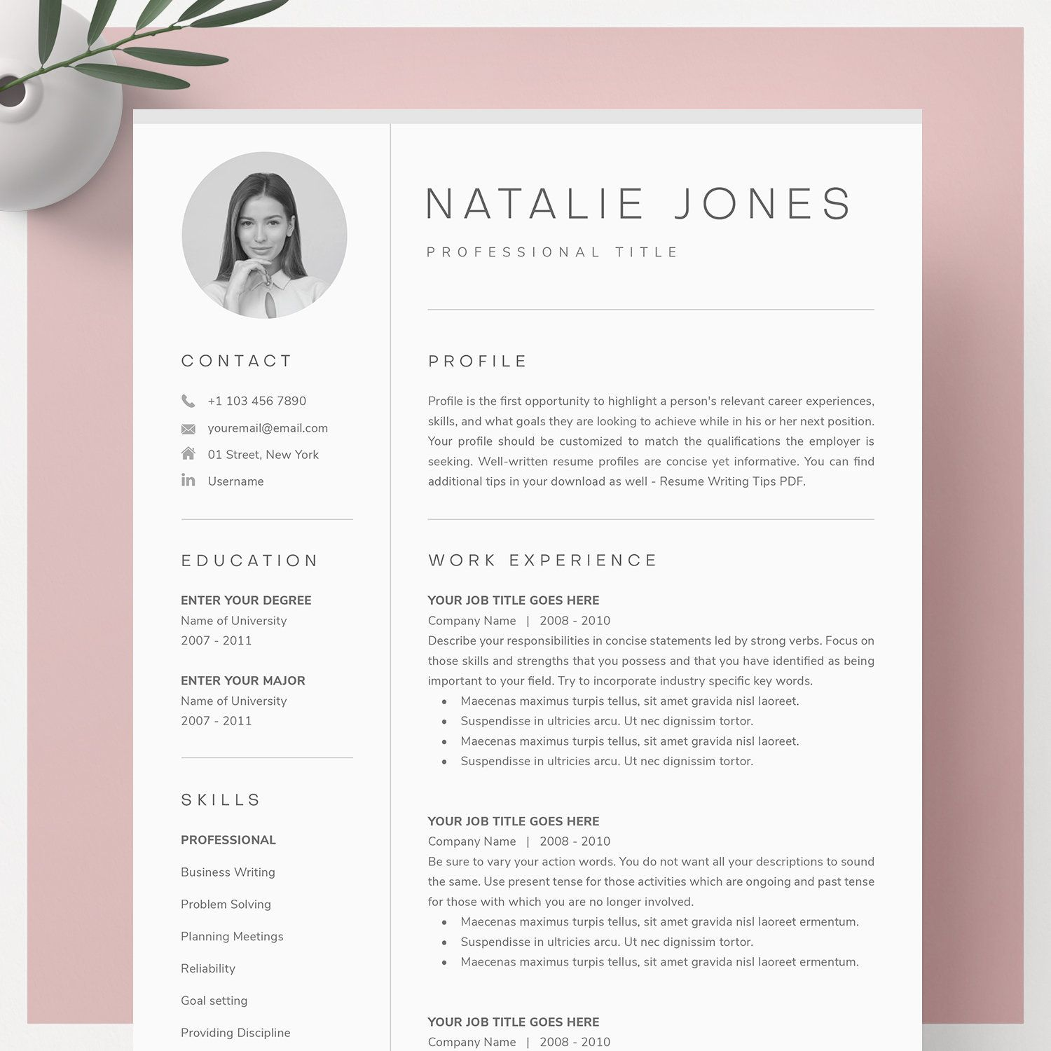 Resume Template for Word, Pages + Cover Letter Template + References Template | CV Template | Resume with Photo, Professional Resume, Resume