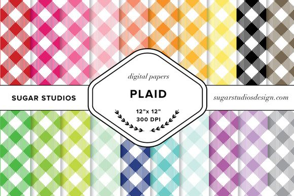 Plaid Digital Paper Set by SugarStudios on @creativemarket