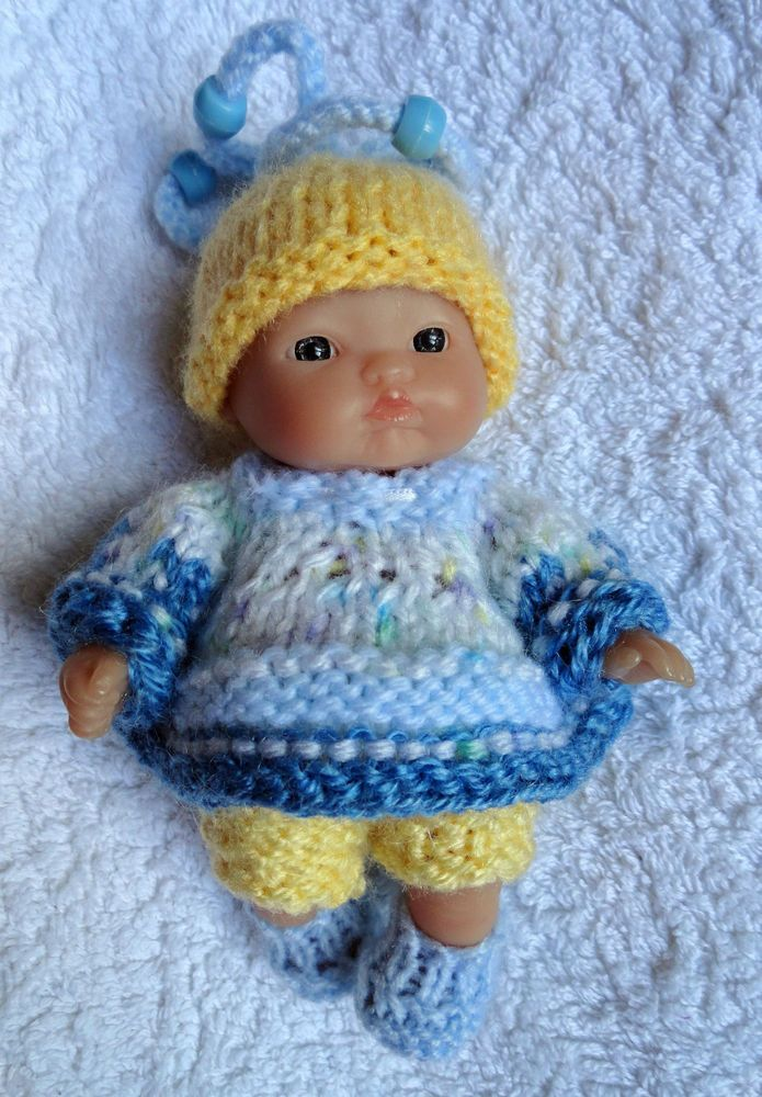 """Hand knitted clothes for 5"""" Berenguer Doll (#187)"""