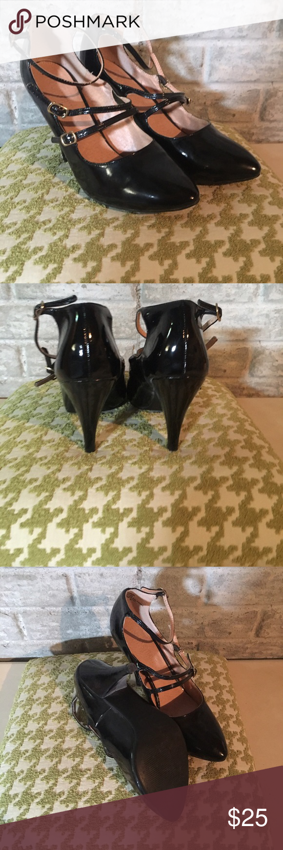 """Colin Stuart strappy pump These black patent pumps have three straps that buckle. 3"""" heel. Have been worn once. Colin Stuart Shoes Heels"""