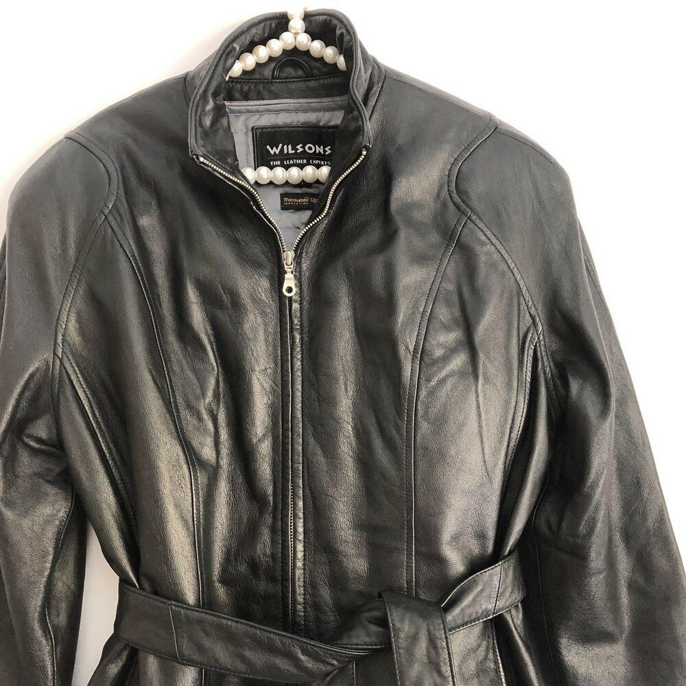 Wilsons Leather Womens Black Zipper Jacket With Belt