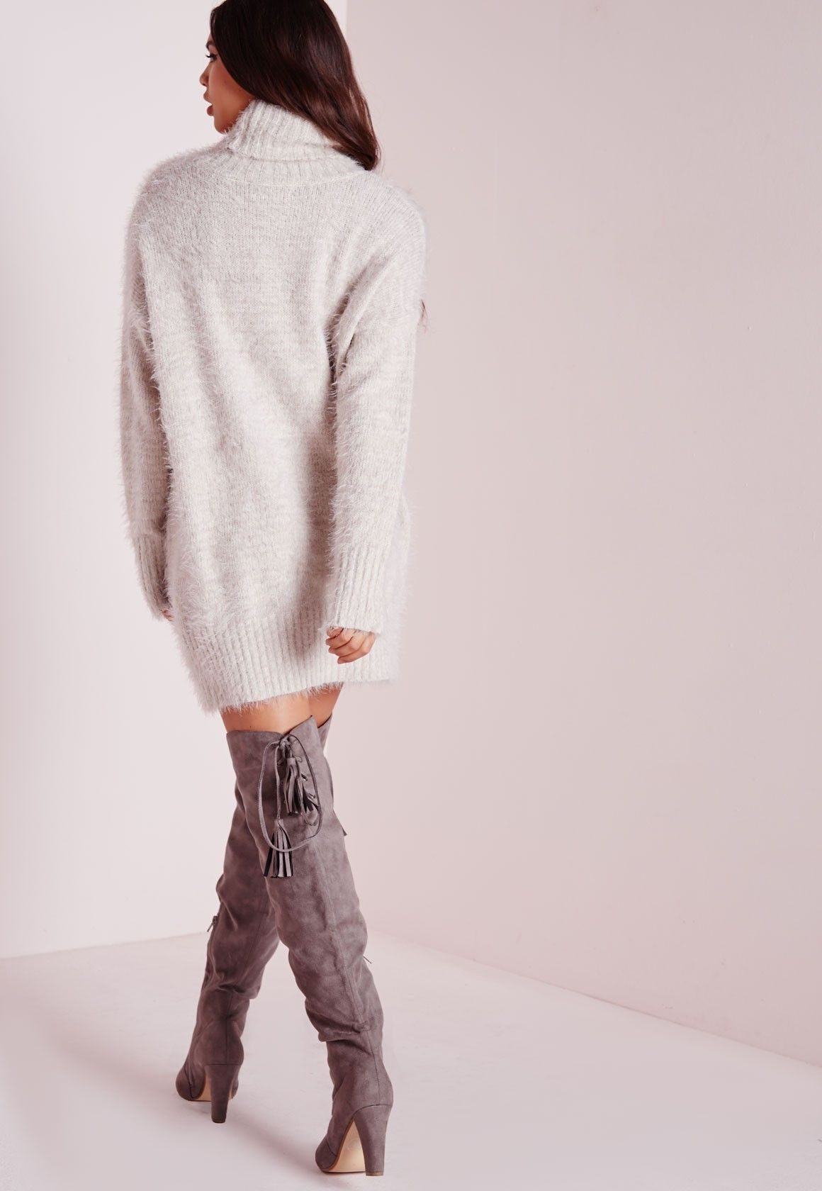 b82488556e0 Missguided - Robe-pull en laine poilue grise col roulé