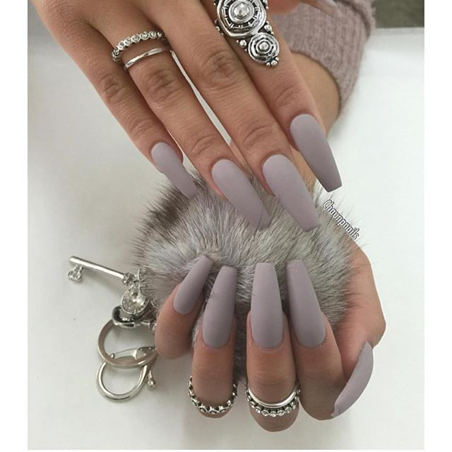 Queens Be Like Grey Matte Nails Hair And Nails Cute Nails