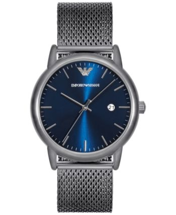 dbce562c1244 Emporio Armani Men s Luigi Stainless Steel Mesh Bracelet Watch 43mm AR11053  - Gray