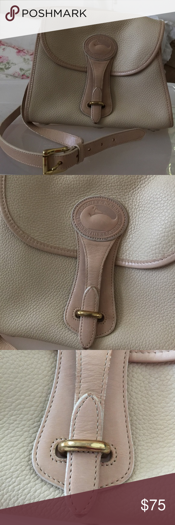 Unique Vintage Dooney and Bourke taupe bag Dooney & Bourke Essex pocketbook  in all weather leather, taupe with tan accents and strap.Features two open and one zippered pocket inside the main body.Solid Brass Hardware. Adjustable Shoulder Strap.Overall in great shape, can be worn as a shoulder bag or a cross body bag. signs of use, D&B label inside (see photo). Also there are dark pen marks inside the bag (see photo). Dooney & Bourke Bags Crossbody Bags