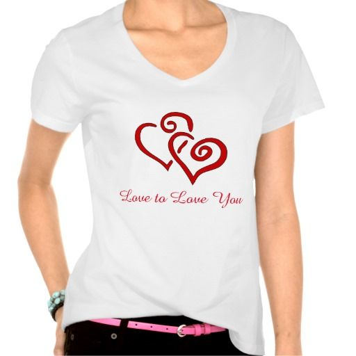 Black and Red Heart T-Shirt with Love to Love you greeting $27.95