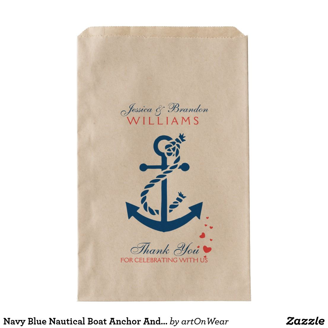 Navy Blue Nautical Boat Anchor And Rope Favor Bag | Favor bags ...