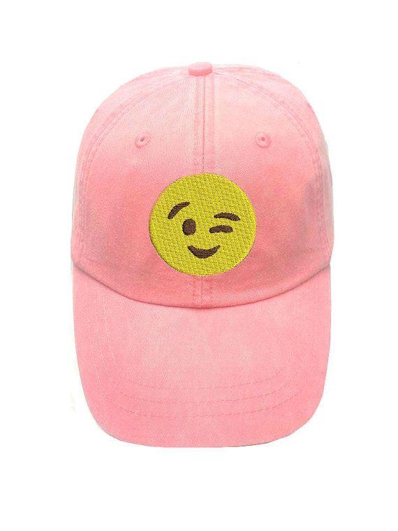 Winking Emoji Cap Emoji Hats Emoticon Apparel Social Media Emoji Hat Emoticon Hat Wink Face Emoji Hat Gift For Boyfriend Emoj Emoji Hat Emoji Hats