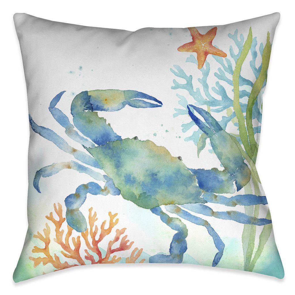 Sea Life Blue Crab Outdoor Decorative Pillow Outdoor Decorative Pillows Beach House Decor Coastal Bedrooms