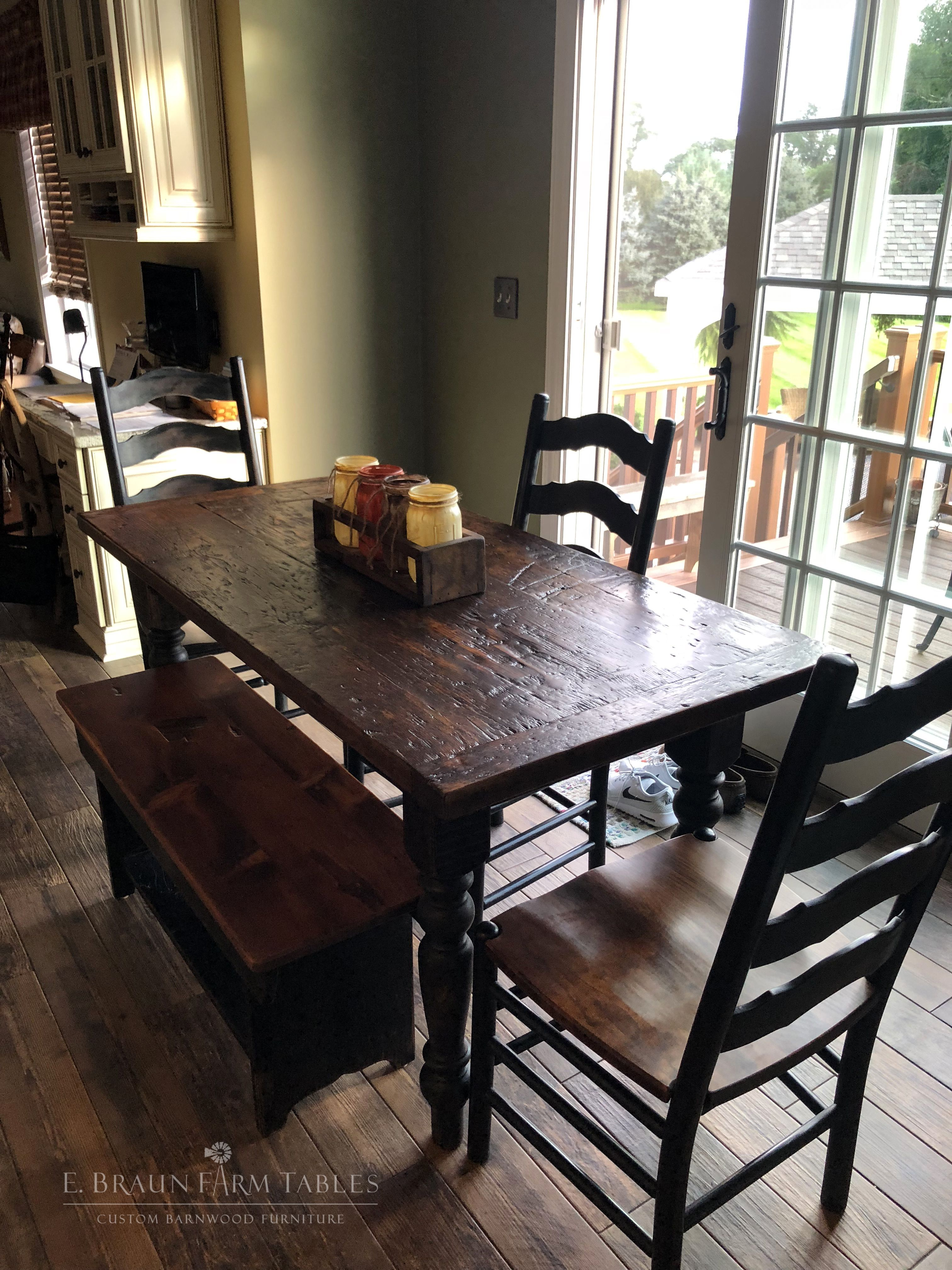 reclaimed high character barnwood table with turned legs ...