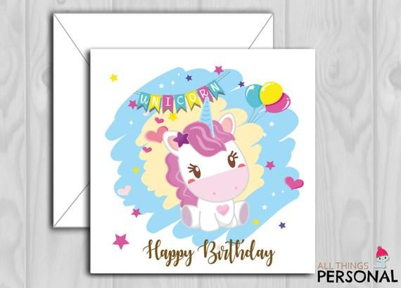 Niece Personalised Girls Unicorn Birthday Card 1st 2nd 3rd 4th Daughter Sister