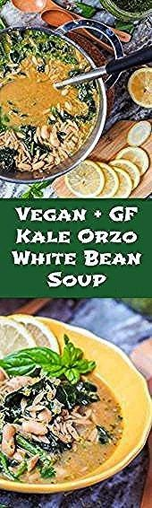 eight ingredient vegan orzo kale white bean soup with pesto comes together in 30 minutes and is hearty enough for a full meal Perfect for cooler fall nights Gluten Free...