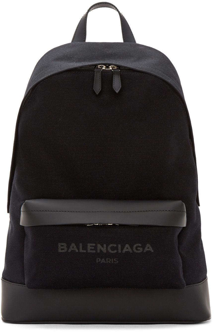 e27352d55d84 BALENCIAGA Black Canvas Logo Backpack.  balenciaga  bags  leather  canvas   backpacks