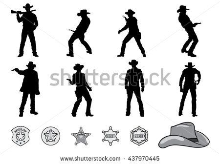 Silhouettes of Western Cowboys and Sheriff Badge. Vector Illustration