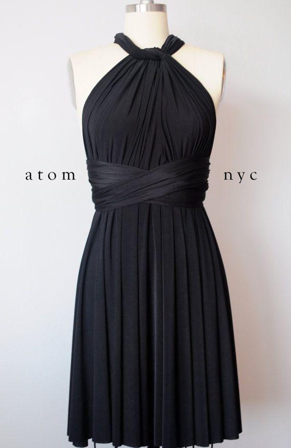 Black SHORT Infinity Dress Convertible Formal Multiway Wrap Dress Bridesmaid Dress Toga Cocktail Dress Evening Dress Bridal Knee Length