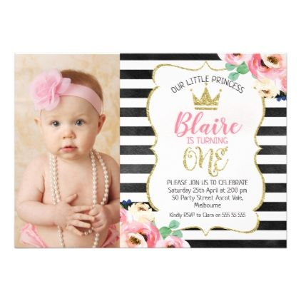 Striped Princess Crown 1st Birthday Invitation