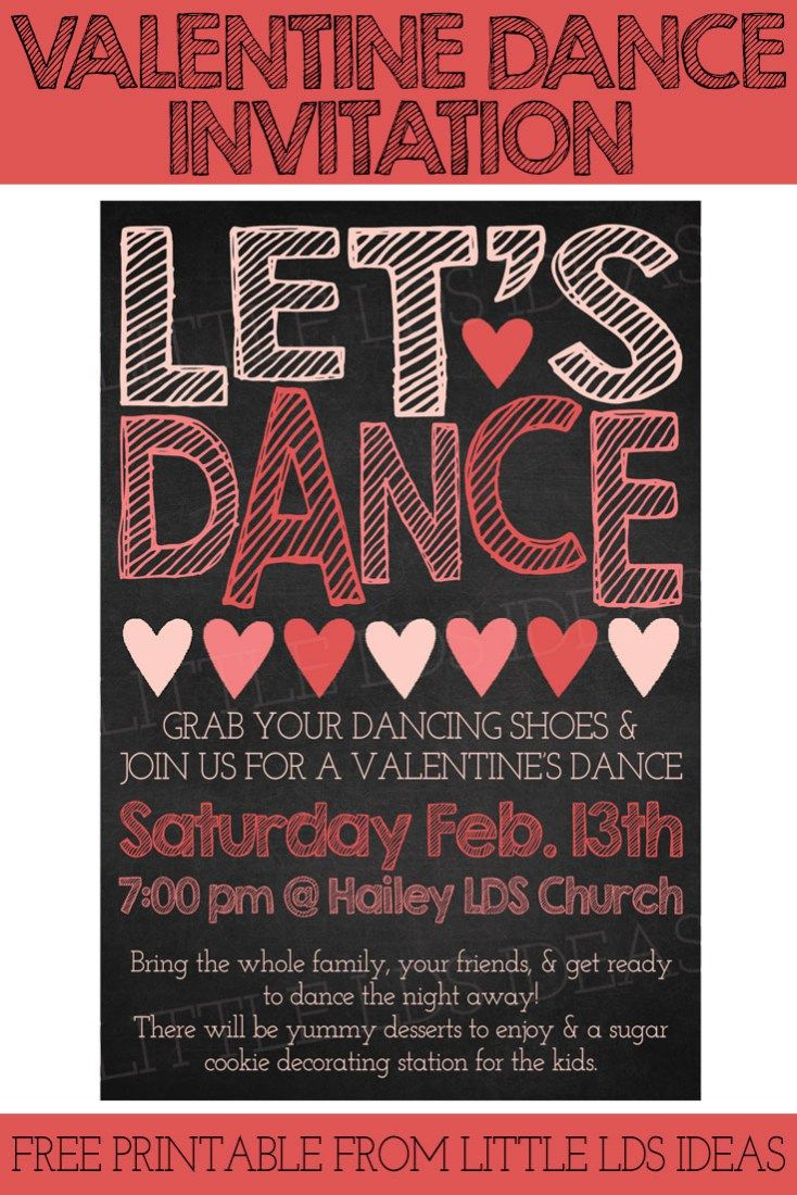 Valentine party ideas for church - Is Your Ward Having A Valentine S Dance Here S Some Great Ideas And A Free Invitation