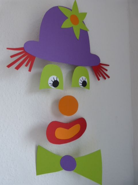 Mobile clown palha os pinterest fasching clown - Clown basteln kindergarten ...