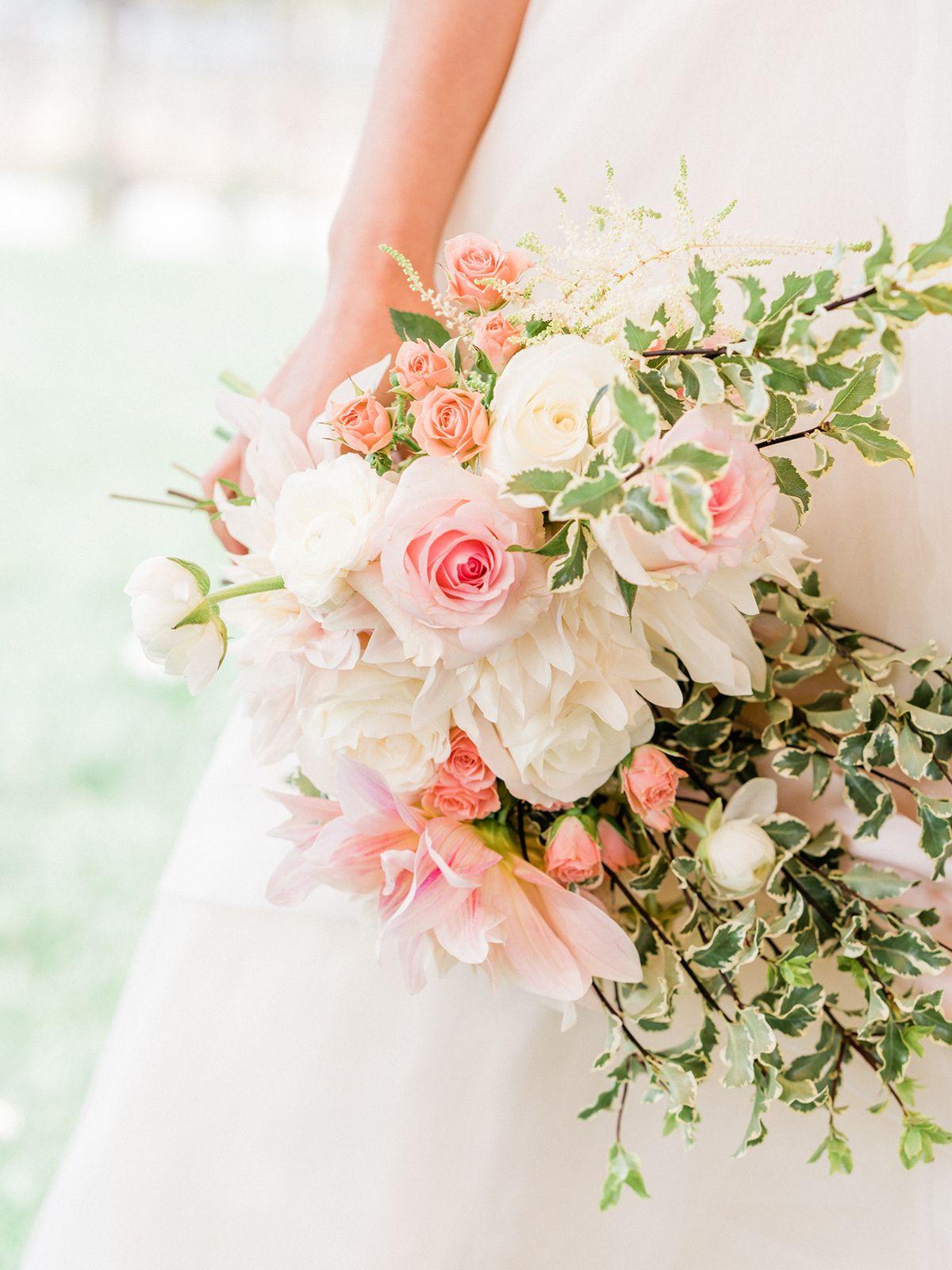 Bridal Bouquet Temecula Ca Bride Holding Rustic Romantic And Organic Blush And White Bridal Bouq Spring Wedding Bouquets White Bridal Bouquet Floral Wedding