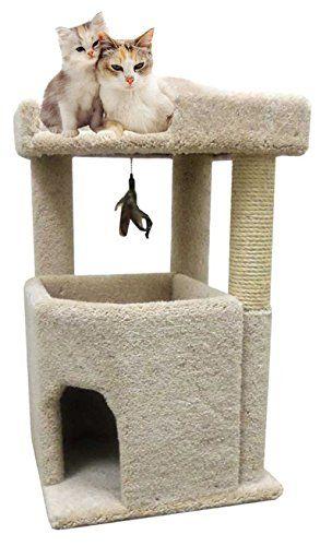 Cozycatfurniture Big Kitty Condo Cat Furniture For Large Cats Best Cat Condos Beige Carpet Review With Images Cat Furniture Cat Condo Cat Bed Furniture