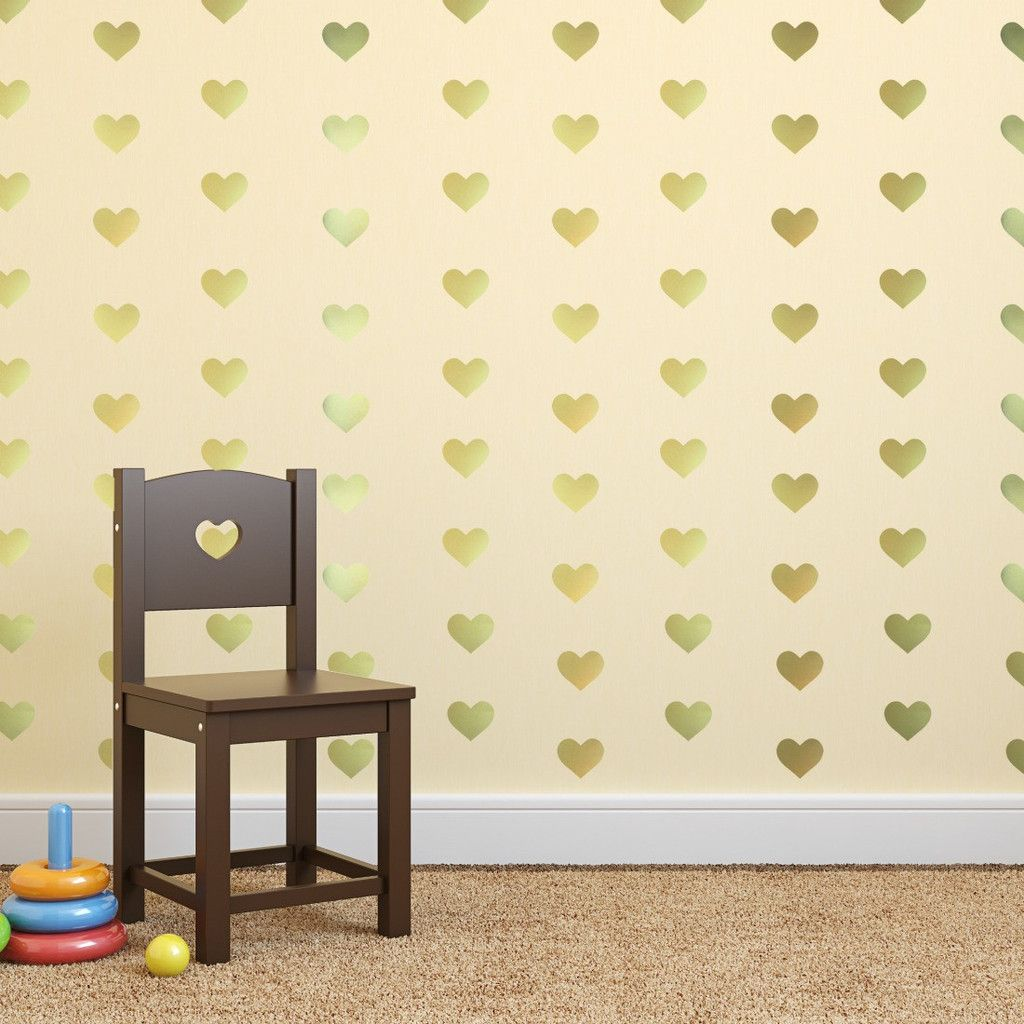 Gold Heart Wall Decals. Such a good idea for a playroom or nursery ...