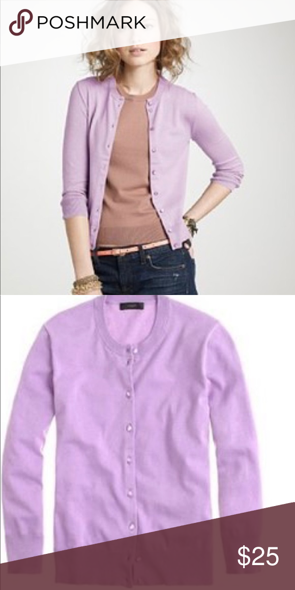 0b9c536fd244ad J. Crew 100% cotton cardigan Very good condition, lavender color, size  large. J. Crew Sweaters Cardigans
