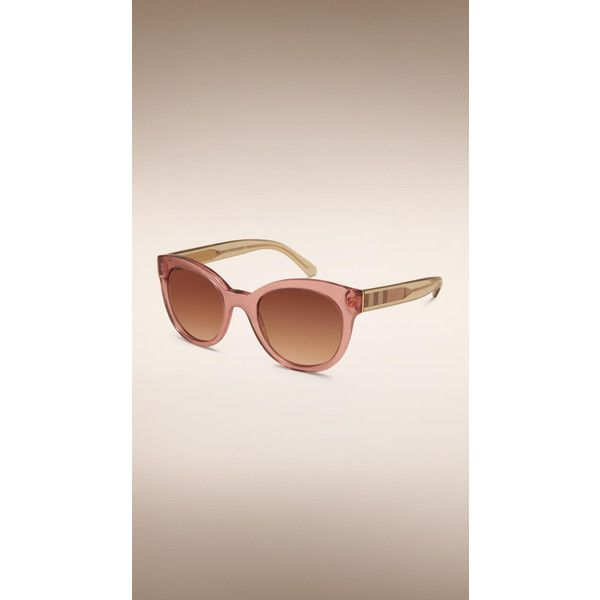 Burberry Check Detail Oval Sunglasses (795 MYR) ❤ liked on Polyvore featuring accessories, eyewear, sunglasses, oval glasses, lens glasses, scratch resistant sunglasses, burberry eyewear и pink sunglasses