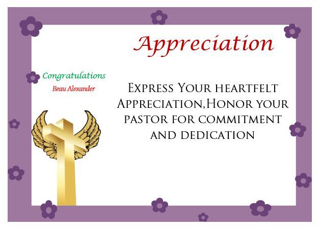 Printable Pastor Appreciation Certificate Pastor Appreciation - congratulations award template