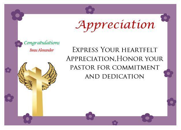 Printable Pastor Appreciation Certificate Pastor Appreciation - copy appreciation certificate wording