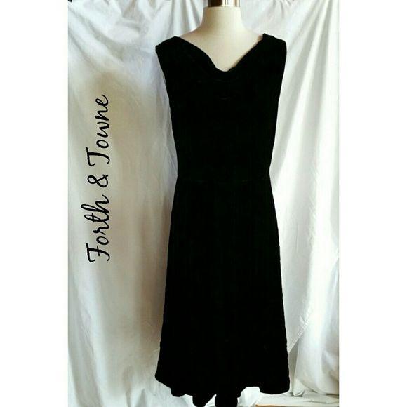 Forth & Towne Black Velvet Dress Drape Neck Gorgeous,  new dress.  Size 12.  Drape neck.   Velvet. Forth & Towne  Dresses