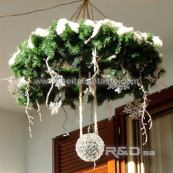 Outdoor Advent Wreath To Hang On The Ceiling All Made By Hand And Decorated With Led Lights And Snowflakes Hang From Ceiling Decor Advent Wreath Wreath Decor
