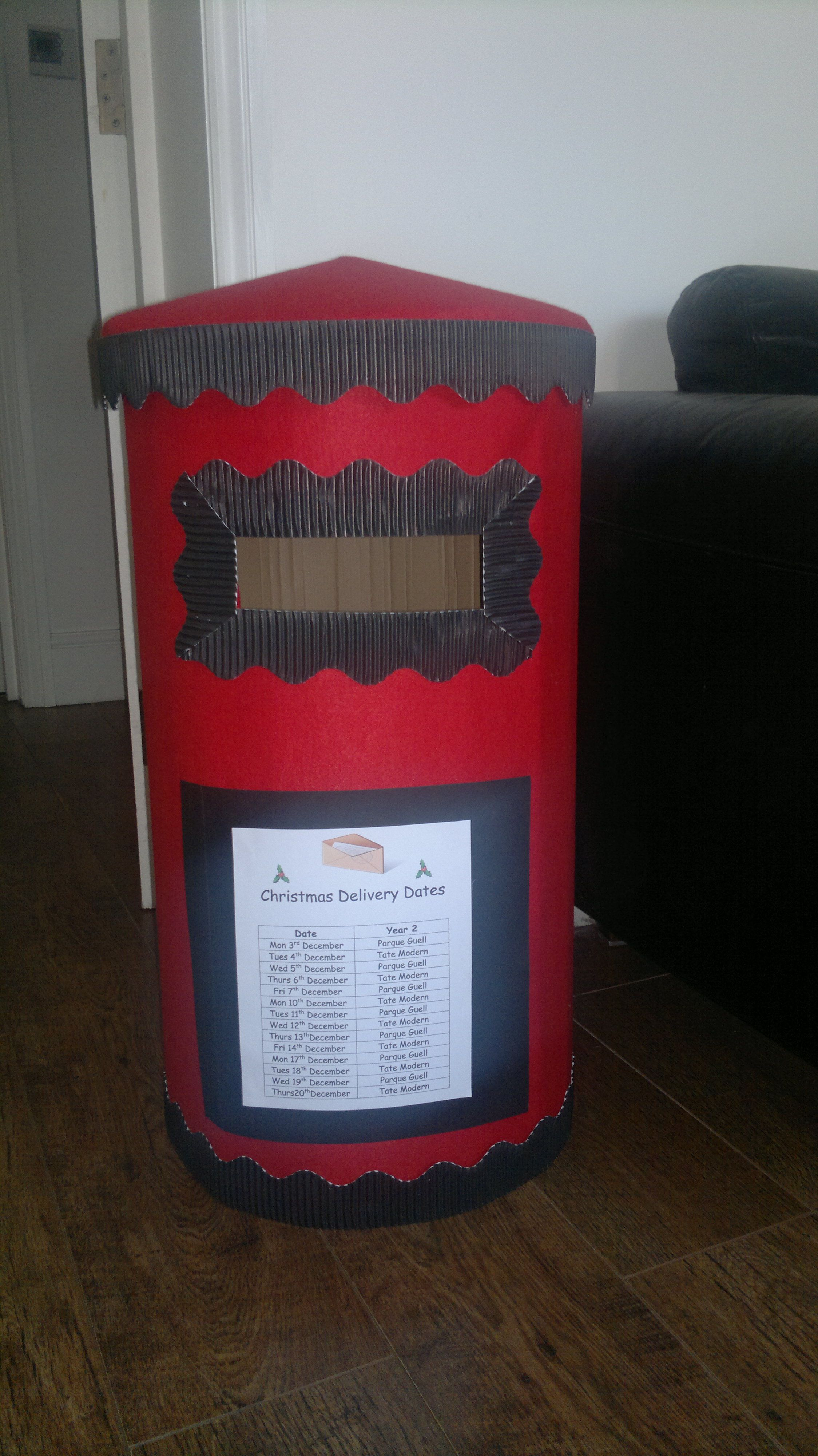 My Post Box Ready To Go To School N Receive All The Christmas Cards Diy Cards Christmas Post Diy Box