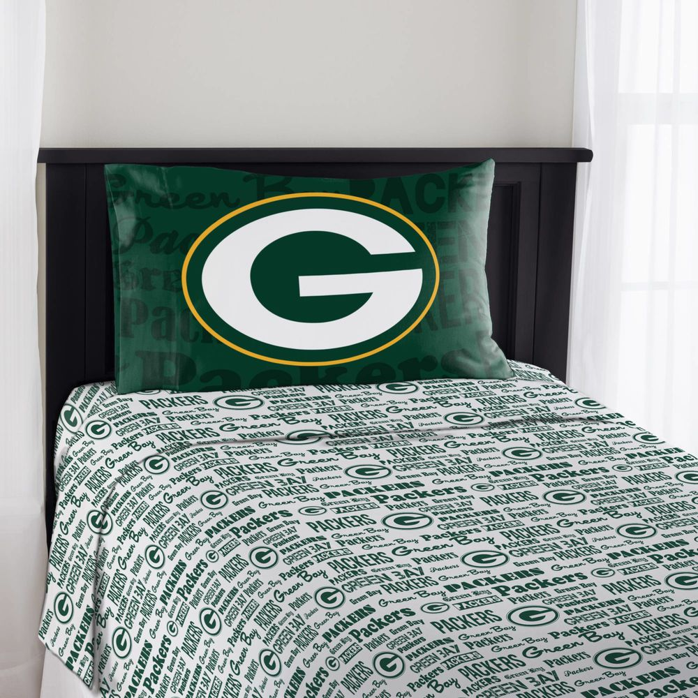 Green Bay Packers Sheet Set Nfl 3pc Flat Ed Sheets Pillowcase Bedding Twin Greenbaypackers