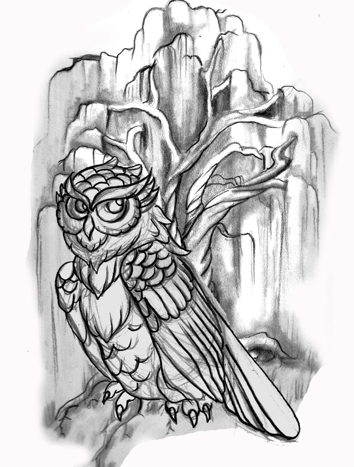 line drawing, owl; willow tree; tattoo | Candace Tattoo ...  line drawing, o...