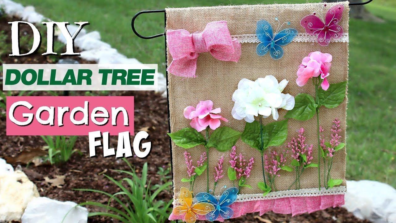🌷 DIY Dollar Tree Garden Flag  Cute DIY Outdoor Decor  Diy