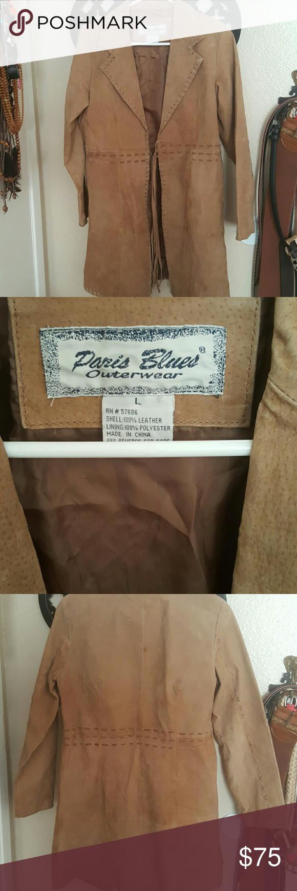 Paris Blues Pocahontas Leather Jacket Cool Good Condition Vintage Look Tan Leather Tie Tassels Size Large Paris Blues J Leather Jacket Jackets Blue Jacket [ 1740 x 580 Pixel ]