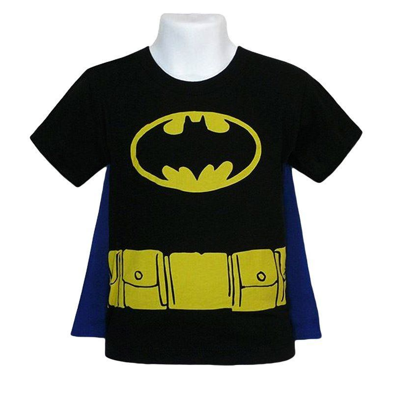 The Batman Kids Costume Caped T-Shirt is a black, toddler-sized t-shirt simulating the costumed torso of Batman, including a removable, blue cape!