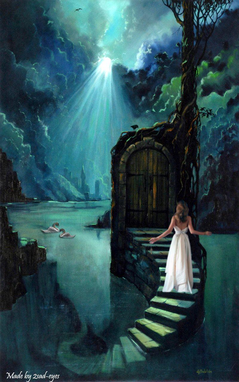 Door to dreamsfantasy stairs art fantasy pinterest tarot