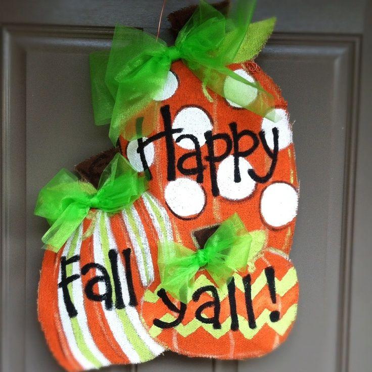 Fall burlap door hangers | Happy fall yu0027all pumpkin burlap door hanger & Fall burlap door hangers | Happy fall yu0027all pumpkin burlap door ... pezcame.com