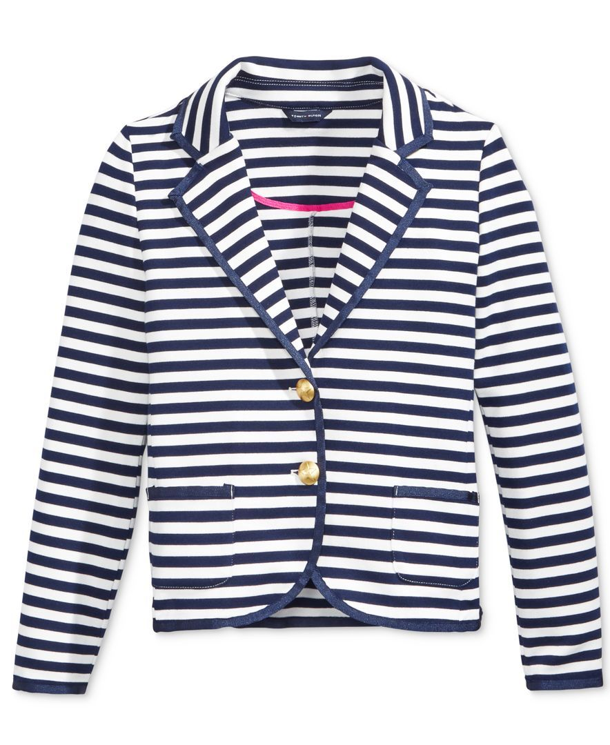 Allover stripes, contrast trim and shiny buttons combine to make ...