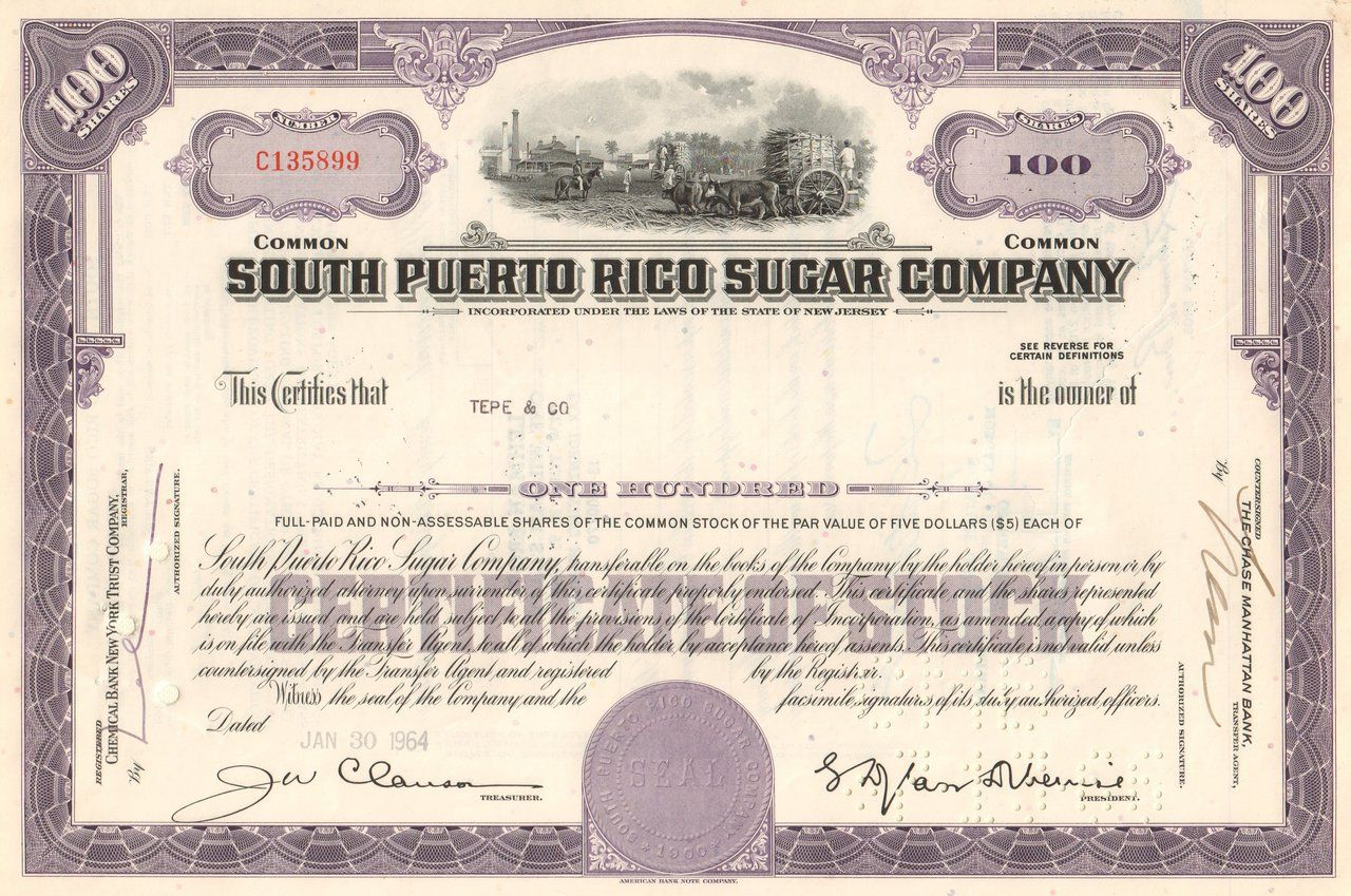 South Puerto Rico Sugar Company stock certificate 1960s – Stock Certificate Example