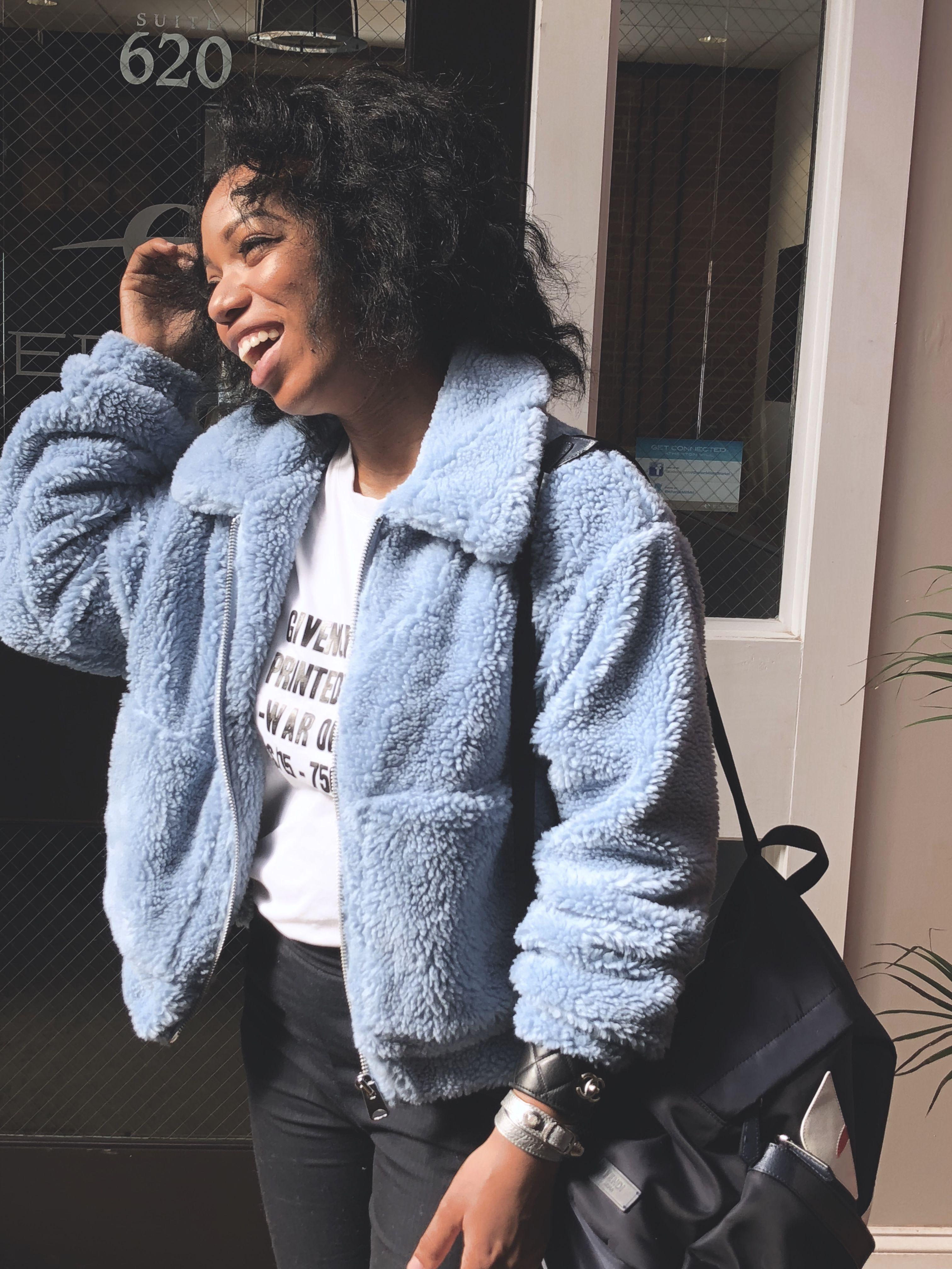 e54b1a7b71 Urban outfitters baby blue teddy bear fur coat